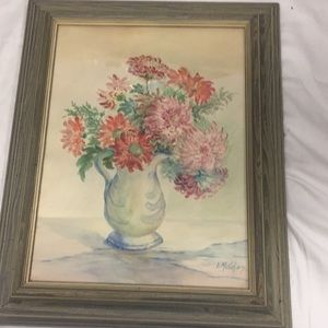 Other - Vintage Framed Watercolor Pitcher of flowers